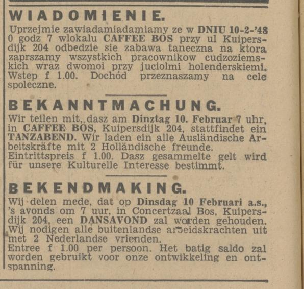 Kuipersdijk 204 cafe Bos advertentie Tubantia 9-2-1948.jpg