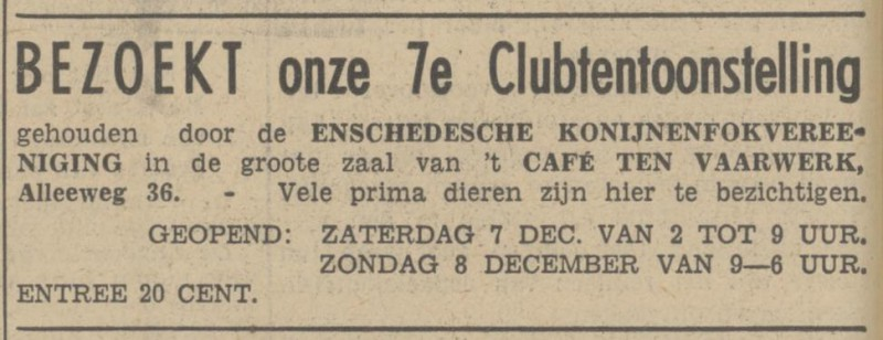 Alleeweg 36 cafe Te Vaarwerk advertentie Tubantia 6-12-1940.jpg