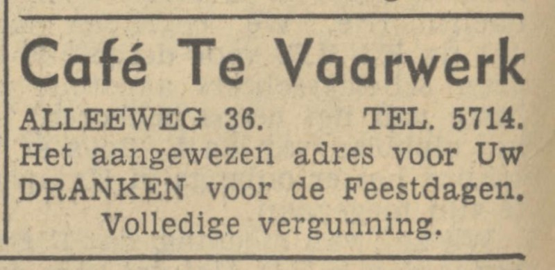 Alleeweg 36 cafe Te Vaarwerk advertentie Tubantia 4-12-1937.jpg