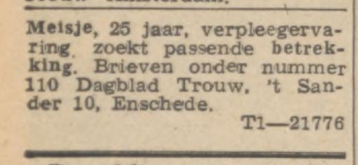 't Sander 10 Dagblad Trouw advertentie Trouw 7-11-1951.jpg