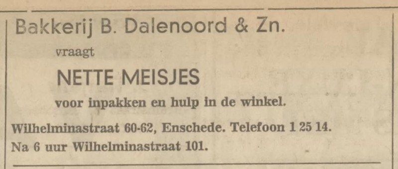Wilhelminastraat 60-62 Broodfabriek B. Dalenoord & Zn. advertentie Tubantia 12-6-1968.jpg
