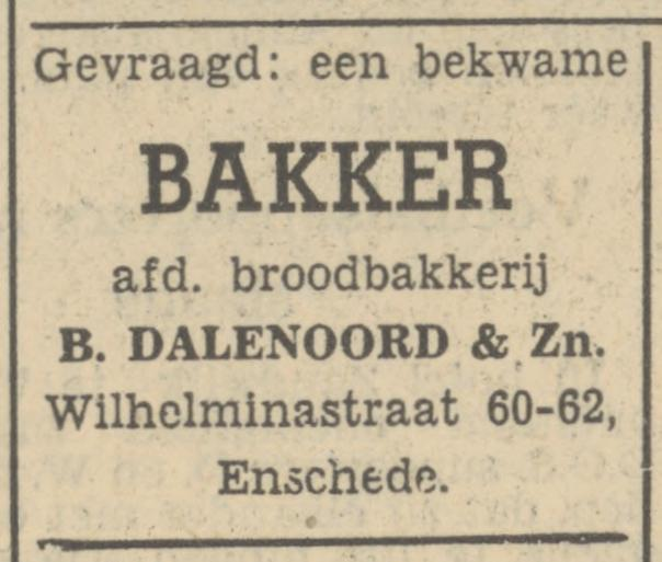 Wilhelminastraat 62 Broodfabriek B. Dalenoord & Zn. advertentie Tubantia 4-9-1951.jpg