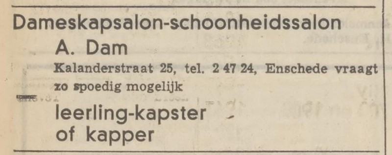 Van Lochemstraat 9 A. Dam Dameskapsalon advertentie Tubantia 12-4-1969.jpg