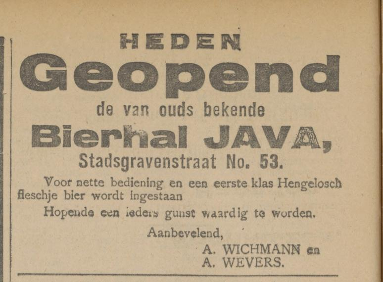 Stadsgravenstraat 53 Bierhal Java advertentie Tubantia 7-8-1919.jpg