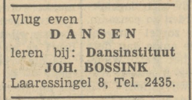 Laaressingel 8 Dansinstituut Joh. Bossink advertentie Tubantia 17-11-1951.jpg
