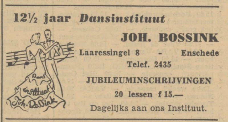 Laaressingel 8 Dansinstituut Joh. Bossink advertentie Tubantia 7-9-1951.jpg