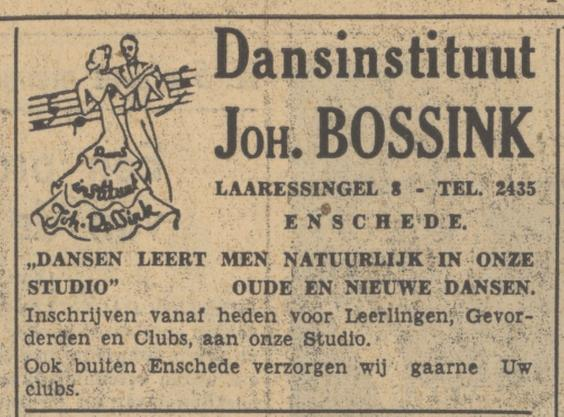 Laaressingel 8 Dansinstituut Joh. Bossink advertentie Tubantia 26-8-1949.jpg