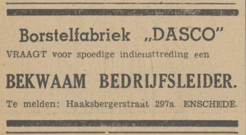 Haaksbergerstraat 297a Borstelfabriek Dasco advertentie Tubantia 13-12-1947.jpg