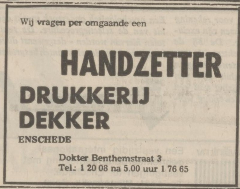 Dr. Benthemstraat 3 Drukkerij Dekker advertentie Tubantia 7-9-1974.jpg