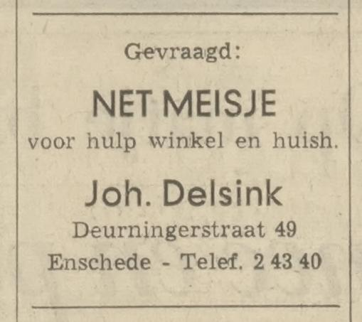 Deurningerstraat 49 Joh. Delsink advertentie Tubantia 27-10-1967.jpg