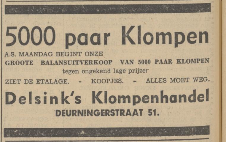 Deurningerstraat 51 Delsink Klompenmhandel advertentie Tubantia 16-1-1937.jpg