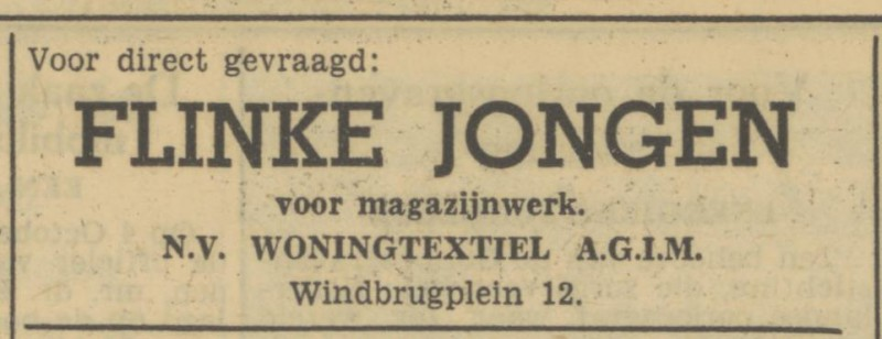Windbrugplein 12 woningtextiel AGIM advertentie Tubantia 8-6-1950.jpg