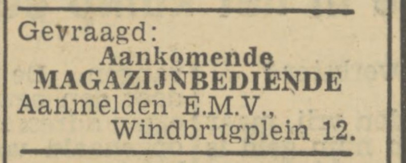 Windbrugplein 12 E.M.V. advertentie Tubantia 18-12-1946.jpg