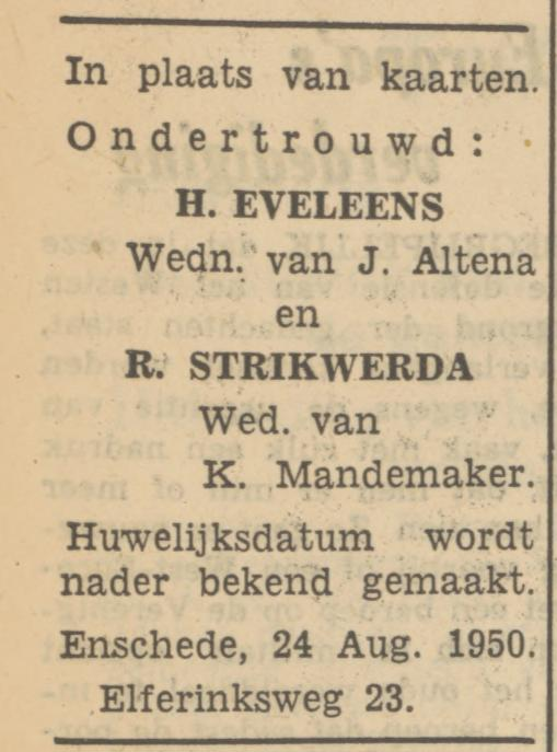 Elferinksweg 23 H. Eveleens advertentie Tubantia 24-8-1950.jpg