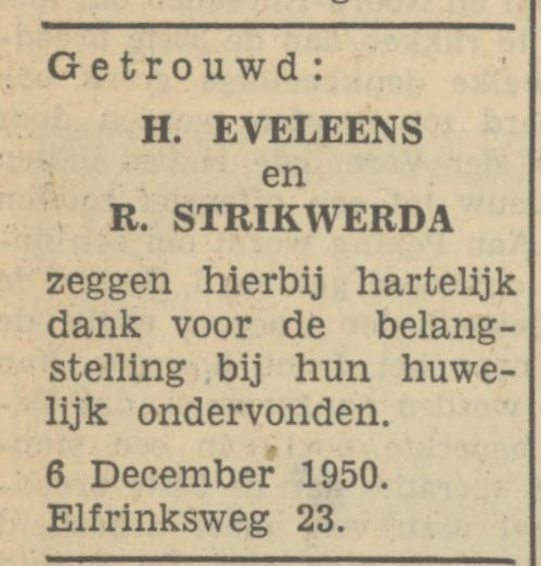 Elfrinksweg 23 H. Eveleens advertentie Tubantia 6-12-1950.jpg