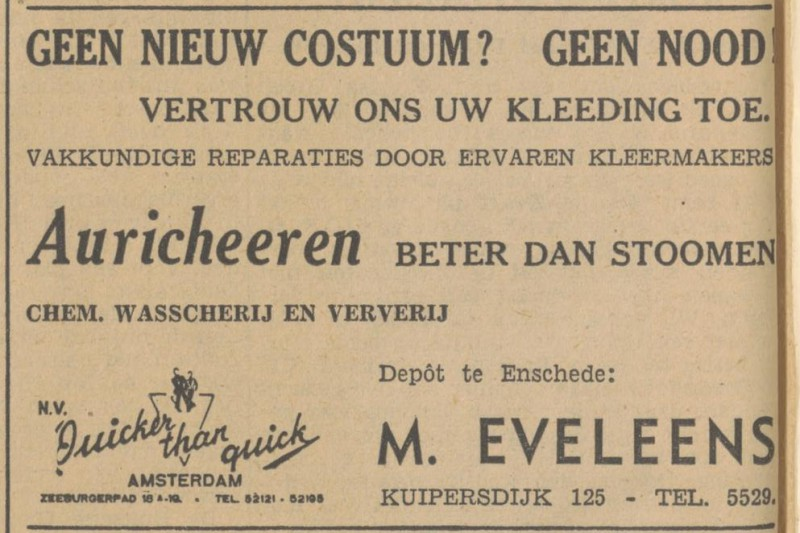 Kuipersdijk 125 M. Eveleens advertentie Tubantia 9-11-1940.jpg
