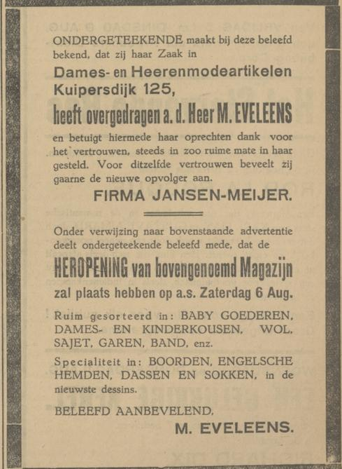Kuipersdijk 125 M. Eveleens advertentie Tubantia 5-8-1927.jpg