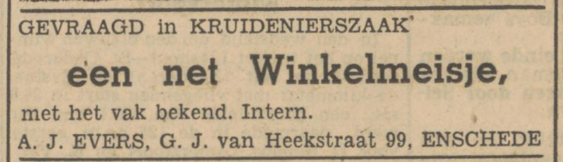 G.J. van Heekstraat 99 A.J. Evers advertentie Tubantia 21-4-1947.jpg