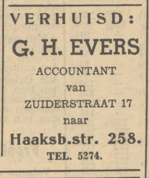 Zuiderstraat 17 G.H. Evers Accountant advertentie Tubantia 5-6-1951.jpg