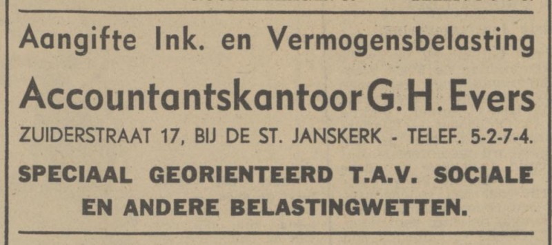 Zuiderstraat 17 G.H. Evers Accountant advertentie Tubantia 15-9-1941.jpg