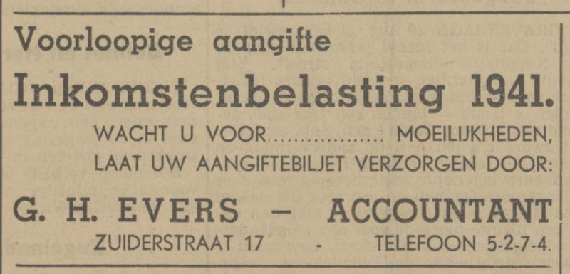 Zuiderstraat 17 G.H. Evers Accountant advertentie Tubantia 20-8-1941.jpg
