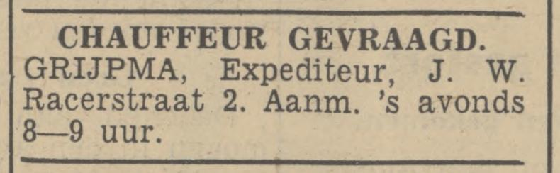 J.W. Racerstraat 2 Grijpma Expediteur advertentie Tubantia 13-9-1939.jpg