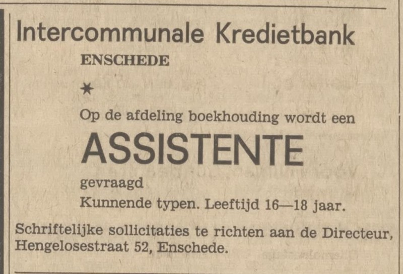 Hengelosestraat 52 Intercommunale Kredietbank advertentie Tubantia 19-3-1966.jpg