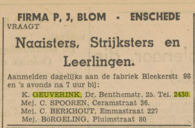 Dr. Benthemstraat 25 K. Geuverink tel. 2430 advertentie Tubantia 17-4-1947.jpg