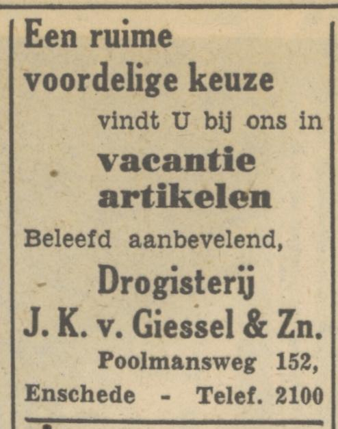 Poolmansweg 152 J.K. van Giessel & Zn. telf. 2100. advertentie Tubantia 19-7-1951.jpg