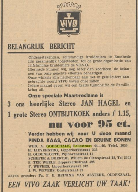 Leliestraat 44-46 Wed. A. Godschalk & Zn. VIVO kruidenier advertentie Tubantia 2-3-1949.jpg