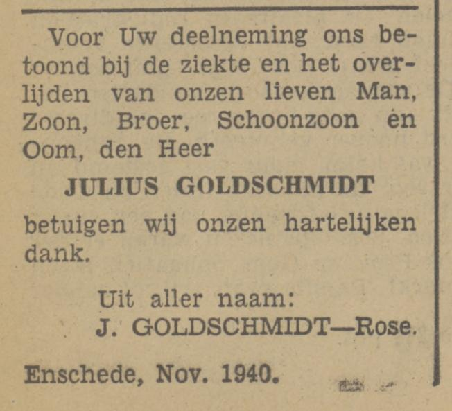 J. Goldschmidt-Rose advertentie Tubantia 21-11-1940.jpg
