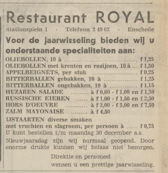 Stationsplein 1 Restaurant Royal advertentie Tubantia 27-12-1968.jpg