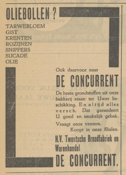 Wilhelminastraat Broodfabriek De Concurrent advertentie Tubantia 27-12-1933.jpg