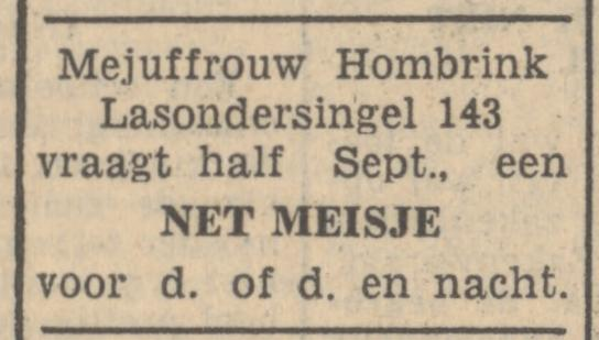 Lasondersingel 143 Mej. Hombrink advertentie Tubantia 30-8-1947.jpg