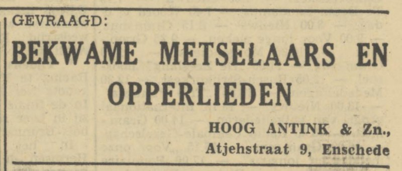 Atjehstraat 9 Hoog Antink & Zn. advertentie Tubantia 13-6-1950.jpg