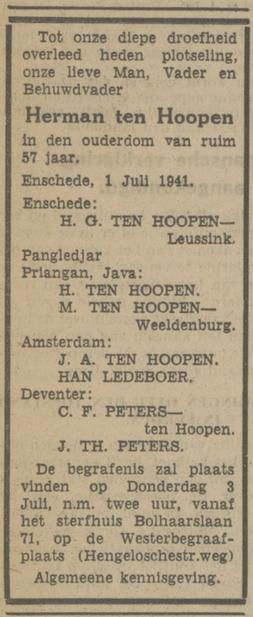 Bolhaarslaan 71 H.G. ten Hoopen-Leussink advertentie Tubantia 1-7-1941.jpg