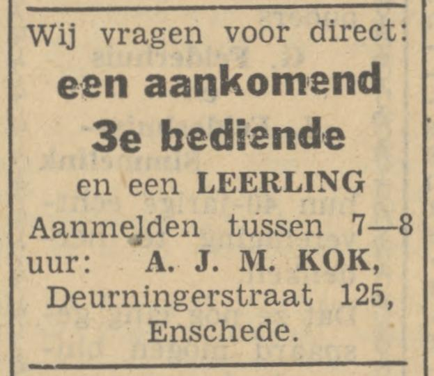 Deurningerstraat 125 A.J.M. Kok advertentie Tubantia 13-5-1949.jpg