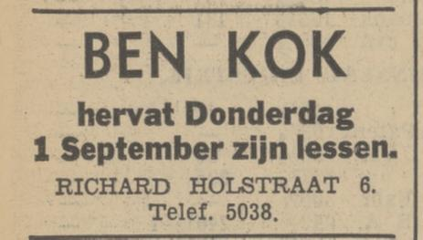 Richard Holstraat 6 Ben Kok advertentie Tubantia 30-8-1938.jpg