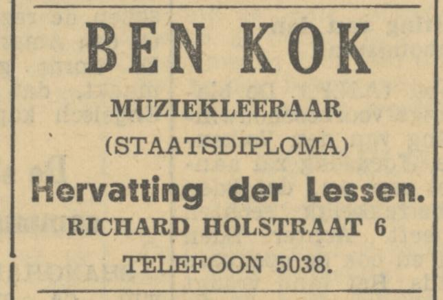 Richard Holstraat 6 Ben Kok muziekleeraar advertentie Tubantia 2-9-1935.jpg
