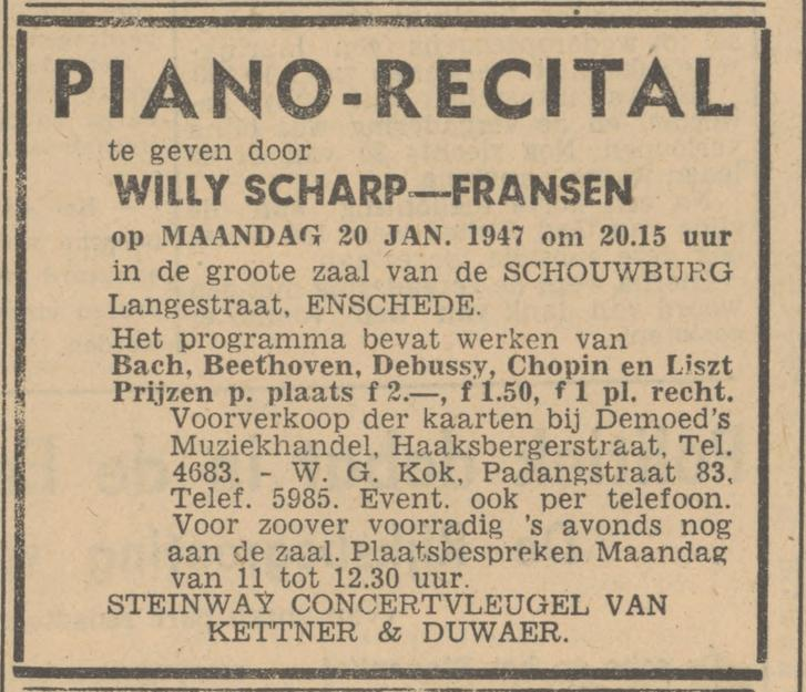 Padangstraat 83 W.G. Kok advertentie Tubantia 16-1-1947.jpg