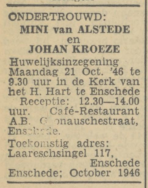Laaressingel 117 J. Kroeze advertentie Tubantia 4-10-1946.jpg