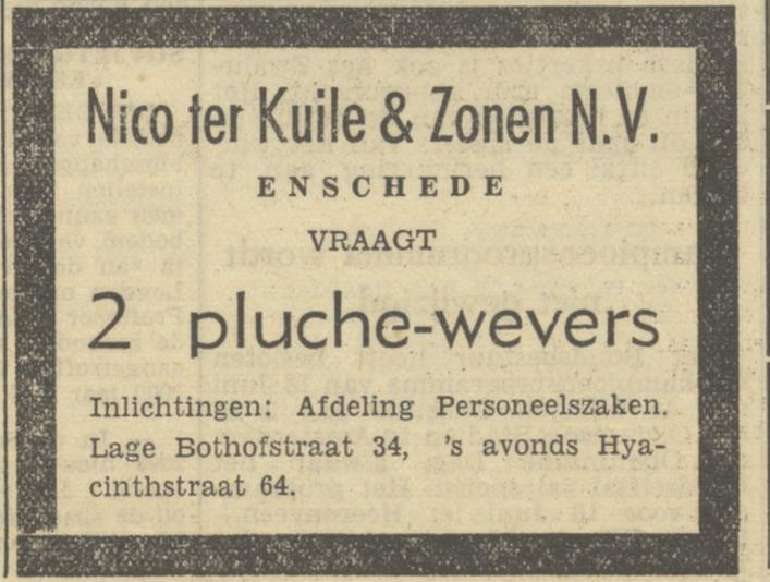 Lage Bothofstraat 34  Nico ter Kuile & Zonen N.V advertentie Tubantia 11-5-1950.jpg
