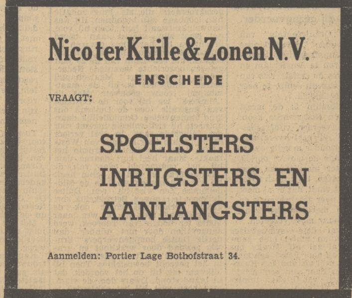 Lage Bothofstraat 34  Nico ter Kuile & Zonen N.V advertentie Tubantia 13-10-1949.jpg