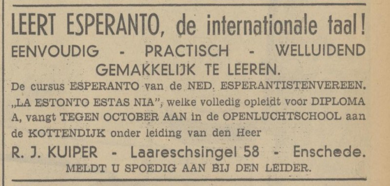 Laaressingel 58 R.J. Kuiper advertentie Tubantia 28-9-1938.jpg