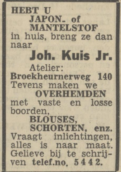 Broekheurnerweg 140 Joh. Kuis Jr. advertentie Tubantia 16-12-1947.jpg