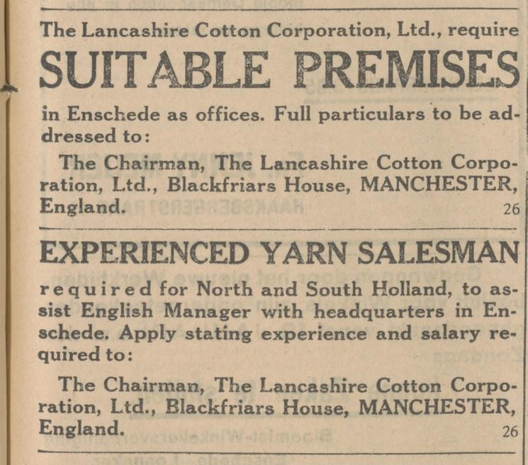 The Lancashire Cotton Corporation Ltd. Enschede. advertentie Tubantia 15-10-1930.jpg